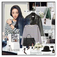 """Black,White,Leather,Stripes"" by rainie-minnie ❤ liked on Polyvore"