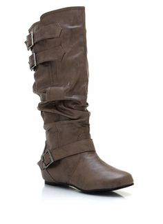 faux leather buckle boots $32.10 in BLACK CAMEL GREY TAUPE - Boots | GoJane.com