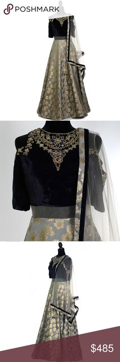QUEENIE ANARKALI Product Design Choli Fabric: Velvet Lehenga Fabric: Polyester Choli Color: Navy Lehenga Color: Grey Embellishments: Cold shoulder design with brocade, net panelling, sequins, and rhinestones Duputta: Net with brocade, velvet, and latkans  Product Size Bust Size: 36″ Customized up to: 36″ Anarkali Length: 60″ India by Thread Dresses