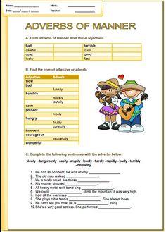 of Manner Elementary Worksheet