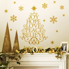 Wall Decal Holiday Lettering Wall Sticker Art - Joy, Hope, Love, Peace, Believe Tree on Etsy, $48.00