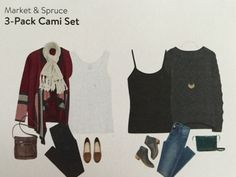 Market & Spruce 3-pack Cami Set, Stitch Fix - mine included one heather gray tank, one black camisole, and one white camisole with a shelf bra. Perfect multi use set.