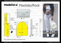 Mochila.. Backpack Tutorial, Diy Backpack, Backpack Pattern, Diy Handbag, Diy Purse, Bag Patterns To Sew, Sewing Patterns, Sewing Hacks, Sewing Tutorials