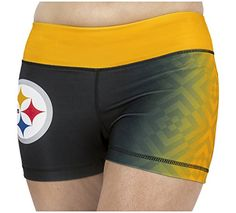 KLEW NFL Pittsburgh Steelers Gradient Print Bootie Shorts, Medium, Black