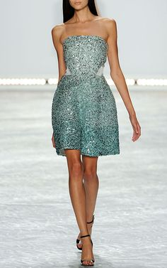Ombre Ocean Blue Embroidered Strapless Dress by Monique Lhuillier for Preorder on Moda Operandi