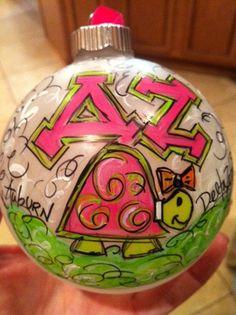 DZ - Delta Zeta Sorority Ornament. $25.00, via Etsy.
