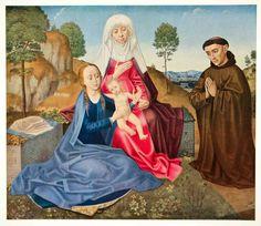 1950 Photolithograph Hugo Van Der Goes La Vierge L'Enfant Sainte Anne Art XAOA5