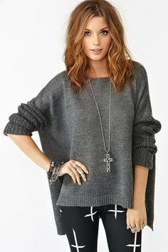gray oversized sweater with dolman sleeves