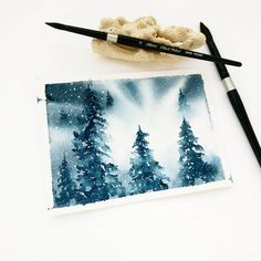 "Gefällt 1,558 Mal, 52 Kommentare - Trupti ⚫ Watercolor Artist (@whatacolor_gal) auf Instagram: ""This piece of backlit, winter pines comes from a moment of pure inspiration and makes for a great…"""
