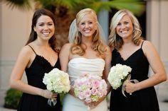 Elegant Black, White & Blush Wedding. Bouquets but in reverse