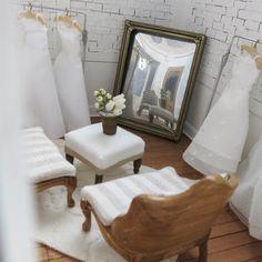 Georgie Bridal. Handmade miniature bridal shop. Set in Georgetown, Washington DC. Hand cut and placed brick work. Handmade miniature wedding gowns. #mini #miniature #dollhouse #dollhouseminiature #bridal #georgetown #hobby #scaleminiature #retaildisplay #boutique