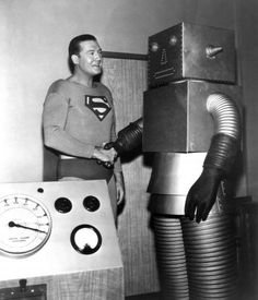 vintage Robot with Superman, Lol!