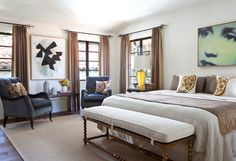 Hollywood Hills Spanish Colonial - contemporary - bedroom - los angeles - Jonathan Winslow Design
