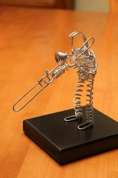Wire Trombone Player by TotallyWiredArts on Etsy