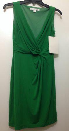 NWT Boston Proper Surplice Knot-Detail Dress Green Size 4