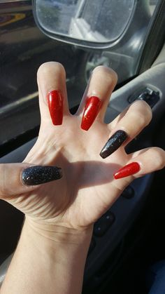 nails red and black acrylic - nails red and black + nails red and black design + nails red and black acrylic + nails red and black prom + nails red and black matte + nails red and black glitter + nails red and black ombre + nails red and black coffin Black Acrylic Nails, Black Coffin Nails, Gold Glitter Nails, Silver Nails, Dark Nails, Red Black Nails, Shiny Nails, Black Ombre, Red Nail