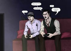 Ruvik and Seb playing videogames by Grace-Zed on DeviantArt