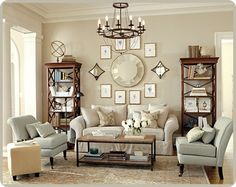 Formal Living Room...a little too symmetrical for me, but I like the general idea