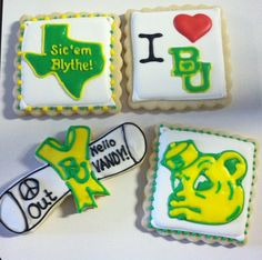 Baylor graduation cookies! Cleaner and simpler than a cake, but still just as creative.