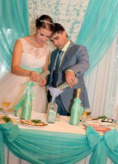 Бирюзовая свадьба песочная церимония