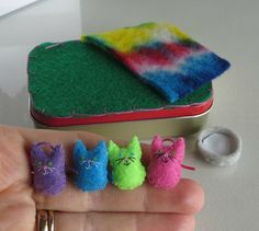 Cats miniature felt plush in Altoid tin play set by wishwithme