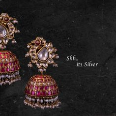 Gorgeous silver jumkhis studded with multi precious stones. Jumkhis with gold polish. its SilverFor custom works - 07 December 2019 Gold Jhumka Earrings, Jewelry Design Earrings, Gold Earrings Designs, Indian Earrings, Gold Jewellery Design, Gold Designs, Designer Jewellery, Silver Jewellery, Antique Jewellery Designs