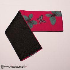 Hanhaba Obi Rose fuchsia motif papillon - kitsuke.fr