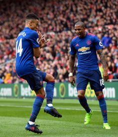 Jesse Lingard of Manchester United celebrates scoring his sides second goal with Ashley Young of Manchester United during the Premier League match. We Are Manchester, Manchester United Football, Ashley Young, Russia World Cup, Jesse Lingard, Football Is Life, Middlesbrough, Premier League Matches, Professional Football