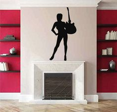 ik2605 Wall Decal Sticker sexy girl with rock guitar heavy lounge music store