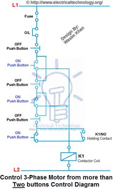 on off 3 phase motor connection control diagram electrical control 3 phase motor from more than two buttons control diagram electrical