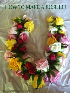 I was recently inspired on how to make a lei, specifically a fresh flower lei with roses. The inspiration came from a trip to our local farmers market. Graduation Flowers, Graduation Crafts, Graduation Leis, Graduation Regalia, Graduation Necklace, Diy Flowers, Fresh Flowers, Flower Crafts, Paper Flowers