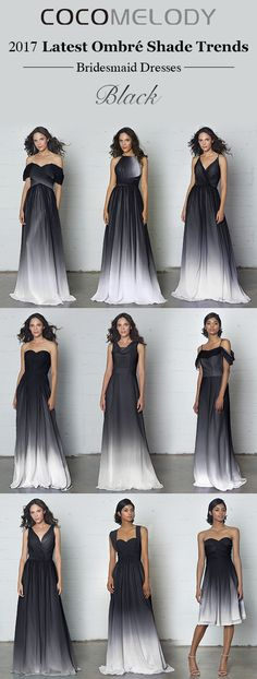 More Styles To Choose. Ombre Bridesmaid Dresses, Ombre Wedding Dress, Black Bridesmaids, Wedding Bridesmaids, Wedding Attire, Wedding Gowns, Ombre Gown, Black And White Wedding Theme, Elegant Dresses