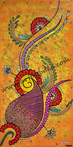 "Henna Abstract, 2014. 10"" x 20"". Textured henna-style acrylic painting on canvas. © Bala Thiagarajan, 2014. www.artbybala.com"