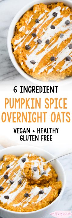 These vegan pumpkin spice overnight oats are rich, satisfying, and full of spiced pumpkin flavor! A great healthy, easy breakfast for busy fall mornings, and made with just 6 ingredients. Spiced Pumpkin, Vegan Pumpkin, Pumpkin Spice, Oats Recipes, Raw Food Recipes, Pumpkin Recipes, Vegan Desserts, Free Recipes, Vegan Breakfast Recipes