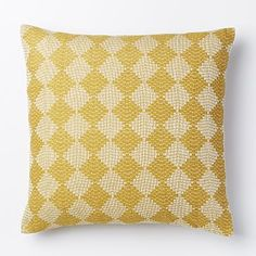 bedroom #3: Hand-Loomed Subtracted Diamonds Pillow Cover - Horseradish #westelm