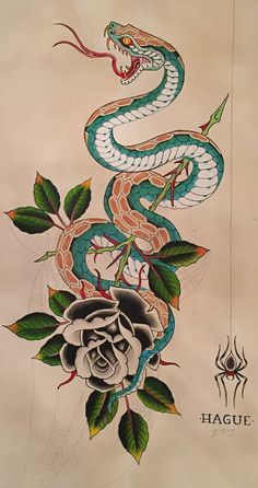 Snake and rose – Serpent tattoo Japanese Snake Tattoo, Japanese Sleeve Tattoos, Snake Drawing, Snake Art, Traditional Snake Tattoo, Old School Rose, Anubis Tattoo, Koi Fish Tattoo, Traditional Japanese Art