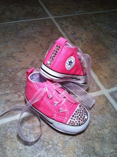 Baby Pink BLING CRIB SHOES Converse chuck taylor by Munchkenz, $45.00