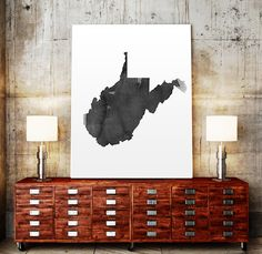West Virginia Map in watercolor Fine Art Print Glicee by TypoWorld