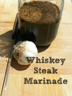 Looking for a way to kick up cooking your steaks on the grill, then try this Whiskey Steak Marinade. Whisky gives this marinade a rustic manly taste that everyone will enjoy. It's easy to make and will infuse a unique flavor to your dinner with whiskey as a surprise ingredient. Marinade Für Steaks, Steak Marinade Recipes, Marinade Sauce, Grilled Steak Recipes, Grilled Meat, Soy Sauce, Grilled Steaks, Barbecue Recipes, Grilled Vegetables