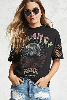 "A knit graphic tee featuring a front ""Strange Tour Back to The Classic"" graphic, an eagle, roses, open-mesh short sleeves, and a crew neck. Shirt Refashion, T Shirt Diy, Winter T Shirts, Fashion And Beauty Tips, Tees For Women, Cut Shirts, Diy Clothes, Diy Fashion, Shirt Style"