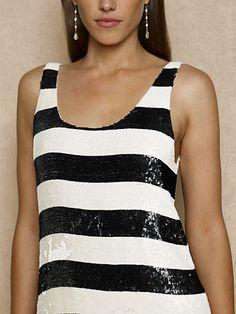 Sequin-Striped Silk Tank - Sleeveless  Shirts - RalphLauren.com