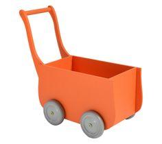 Retro poppenwagen oranje | Orange retro wooden doll stroller | Petite Amélie