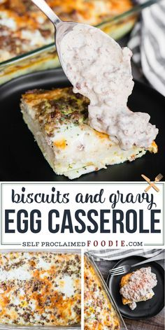 Biscuits and Gravy Casserole is the best homemade breakfast! This hearty comfort food recipe combines classic biscuits and gravy with a baked egg casserole. Since everything fromt the flaky buttermilk biscuit recipe to the country sausage gravy made with sage breakfast sausage is made from scratch, this breakfast recipe takes some time and effort but is definitely worth it! #biscuitsandgravy #casserole #egg #sausage #homemade #recipe #best #baked Amish Breakfast Casserole Recipe, Biscuits And Gravy Casserole, Delicious Breakfast Recipes, Homemade Breakfast, Egg Casserole, Brunch Recipes, Vegan Recipes, Cooking Recipes, Recipes Dinner