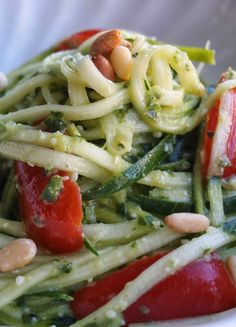 In search of a light dinner that's not light on flavor? This Zucchini Noodles with Pesto recipe features a medley of bold, delicious flavors and crunchy Diamond pine nuts. Best of all, it's easy to make, so it's perfect for busy weeknights! Zucchini Noodles With Pesto Recipe, Pistachio Recipes, Cravings, Pine, Spaghetti, Diamond, Search, Ethnic Recipes, Easy