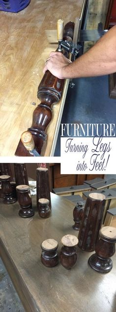 I LOVE this furniture up-cycling idea! Use Old Furniture Legs to make New Furniture Feet!   QTT Featuring Simple Redesign