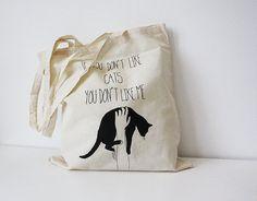 tote bag  black cat quote van memorieswarehouse op Etsy
