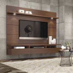 Manhattan Comfort Cabrini 1.8 Floating Wall Theater Entertainment Center for TVs up to 60 inch, Multiple Colors, Brown