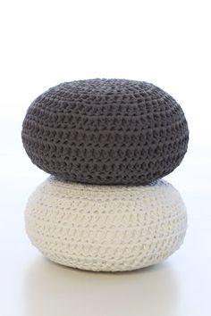 Gray Cushion Floor Cushion Crochet Pillow Floor by OmaniStudio