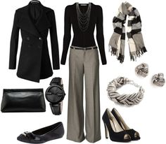 """""""work wear - black and grey"""" by lulums ❤ liked on Polyvo Mode Outfits, Stylish Outfits, Dress Outfits, Fashion Outfits, Womens Fashion, Business Chic, Business Wear, Bcbg, Work Attire"""