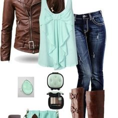 shoes boots winter clothes jacket jeans bag brown mint tank top leather jacket winter boots